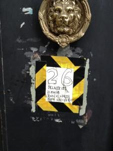 Tom Lynham in Hoxton, 'Please knock hard using knocker'